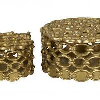 Decor/Accessories - Brass Link Boxes | Jayson Home - brass chain link boxes, brass link boxes, polished brass link boxes,