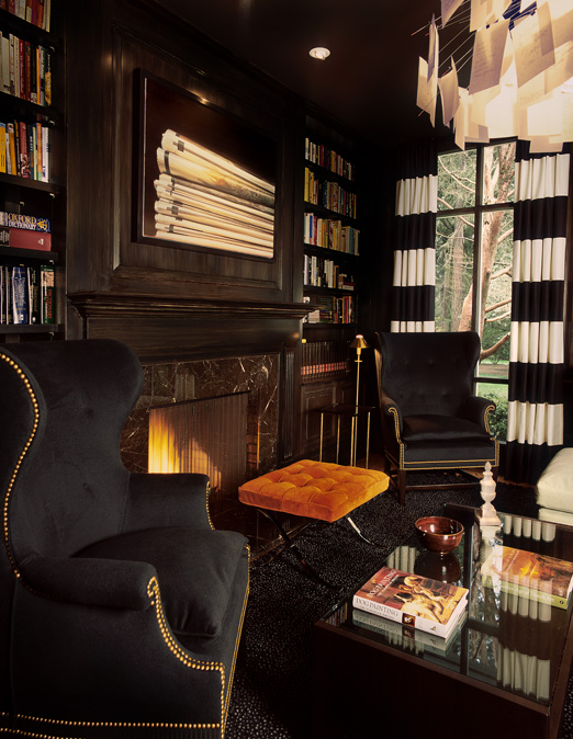 Wood Paneled Den: Black And White Drapes