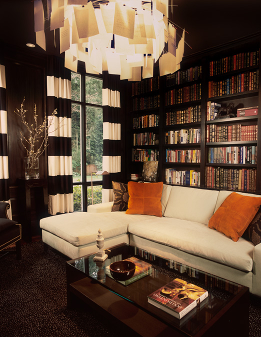 Horizontal Striped Curtains Eclectic Den Library