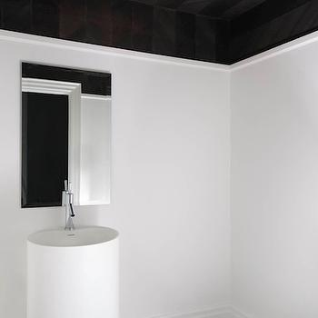 Jodie Rosen Design - bathrooms - black and white powder room, black ceiling, black striped ceiling, tone-on-tone striped ceiling, tone-on-tone black striped ceiling, flush mount glass pendant, modern pendant, black floor tile, black herringbone tiled floors, modern pedestal sink, modern white pedestal sink, frameless square mirror, frameless vanity mirror, white walls, black and white bathroom, modern black and white bathroom, modern black and white powder room, herringbone tiled floors, black herringbone floors, herringbone ceiling, herringbone bathroom ceiling,