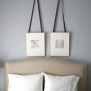 Apartment Therapy - bedrooms - silver gray walls, silver gray paint, silver gray paint color, ribbon picture frames, hanging picture frames, ribbon hanging frames, ribbon hanging picture frames, colette bed, crate & barrel bed, crate & barrel headboard, , Crate & Barrel Colette Bed,