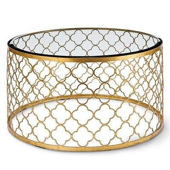 Tables - Regina Andrew Furniture Mosaic Gold Leaf Cocktail Table I Layla Grayce - gold-leaf quatrefoil coffee table, round gold-leaf quatrefoil cocktail table, round gold-leafed quatrefoil coffee table,