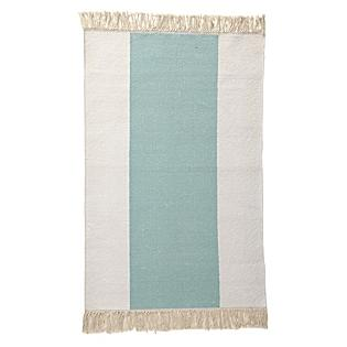 Bath - Aqua Broad Stripe Bath Dhurrie | Serena & Lily - aqua and white striped bath mat, aqua and white dhurrie bath mat, aqua and white striped bath rug,