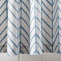 Bath - Aqua Feather Shower Curtain | Serena & Lily - blue and white geometric shower curtain, blue and white chevron shower curtain, blue and white herringbone shower curtain,