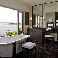NB Design Group - bathrooms - brown bathroom, master bath, master bathroom, brown marble, brown marble tile, brown marble floor, brown marble bathroom floor, contemporary bathroom cabinet, contemporary bathroom vanity, espresso cabinets, espresso bathroom cabinets, espresso vanity, espresso bathroom vanity, drop down vanity, make up vanity, tall bathroom mirrors, tall rectangular mirrors, freestanding tub, vanity stool, vanity ottoman, make up vanity stool, make up vanity ottoman, tub in front of window, bathroom ottoman,