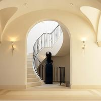 Gordon Gibson Construction - dens/libraries/offices - foyer, entrance, grand foyer, grand entrance, winding staircase, iron hand rail, iron staircase rail, crystal drops chandelier,