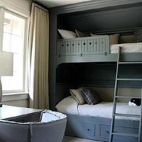 Ruard Veltman Architecture - boy&#039;s rooms - built in bunk beds, bunk beds, boys bunk beds, bunk bed ladder, gray bunk beds, gray built in bunk beds, gray bunk bed ladder, desk in front of window, gray desk, barrel back chair, gray desk chair, gray barrel back chair, floor to ceiling curtains, ivory curtains, ivory drapes, ivory window panels,