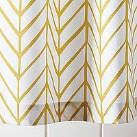 Bath - Mustard Feather Shower Curtain | Serena & Lily - yellow and white geometric shower curtain, yellow and white herringbone shower curtain, yellow and white chevron shower curtain,