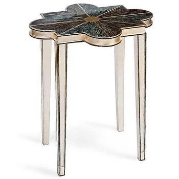 Tables - Regina Andrew Furniture Abalone Quatrefoil Accent Table I Layla Grayce - abalone quatrefoil accent table, silver quatrefoil accent table, silver quatrefoil side table,