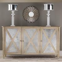 Storage Furniture - Mirrored Three Door Cabinet I Layla Grayce - mirror fronted oak cabinet, mirrored oak cabinet, mirrored x-front cabinet,