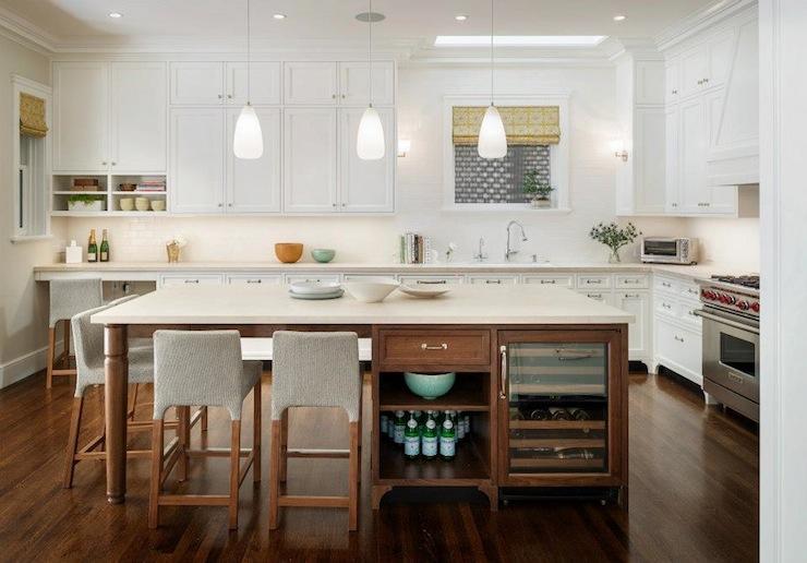 kitchen island wine fridge contemporary kitchen