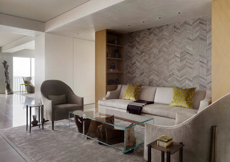 Herringbone Wall Contemporary Living Room Sutro
