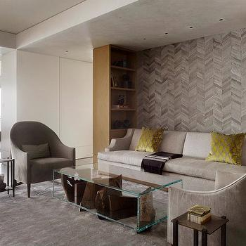 Herringbone Wall, Contemporary, living room, Sutro Architects