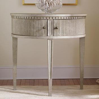 Tables - Gustavian Half Round Table I Layla Grayce - gustavian half round table, gray demilune table, gustavian demilune table,