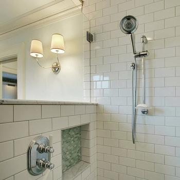 JAS Design Build - bathrooms: open shower, open shower design, shower design, shower ideas, open shower ideas, shower partition, glass shower partition, subway tile, subway tile shower, subway tile shower, subway tile shower surround, shower niche, green mosaic tile, green mosaic tile shower,