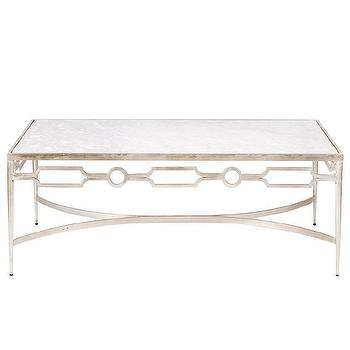 Tables - Worlds Away Grace Silver Leaf and Marble Coffee Table I Layla Grayce - silver leaf and marble coffee table, silver coffee table with marble top, white marble topped silver leaf coffee table,