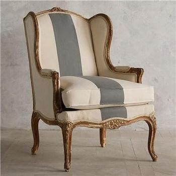 Seating - Eloquence One of a Kind Vintage Bergeres Distressed Paint I Layla Grayce - vintage bergeres chair, bergeres chair, bergeres chair with white upholstery and blue stripe,