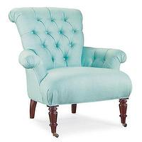 Seating - Layla Grayce Walnut Chair I Layla Grayce - aqua blue tufted chair, aqua blue button tufted chair, aqua blue button tufted chair on castors,