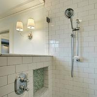 JAS Design Build - bathrooms - open shower, open shower design, shower design, shower ideas, open shower ideas, shower partition, glass shower partition, subway tile, subway tile shower, subway tile shower, subway tile shower surround, shower niche, green mosaic tile, green mosaic tile shower,