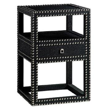 Tables - Bungalow 5 Marco One Drawer Side Table Black I Layla Grayce - black side table, black side table with silver nailhead trim, black side table with nailhead trim, modern black side table with nailhead trim,