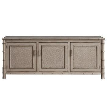 Storage Furniture - Faux Bamboo Entertainment Console I Layla Grayce - gray bamboo entertainment console, gray bamboo media cabinet, gray bamboo media console,