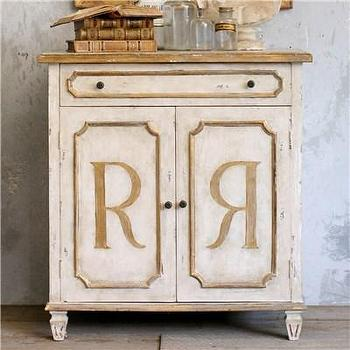 Storage Furniture - Eloquence Royale Cabinet I Layla Grayce - distressed cabinet with gold accents, distressed cabinet with gold r's on door, distressed cabinet with gold gilt accents,