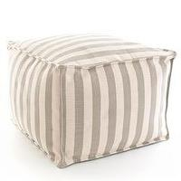 Seating - Dash & Albert Platinum and Ivory Indoor/Outdoor Pouf I Layla Grayce - striped indoor outdoor pouf, gray and ivory striped pouf, gray and ivory stripe pouf,