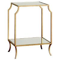 Tables - Milla Small Side Table I Layla Grayce - gold side table with glass shelf, gold and glass side table, antiqued gold side table,