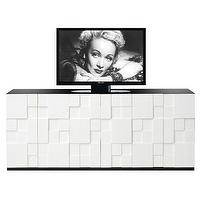Storage Furniture - Rubik Entertainment Console I Layla Grayce - modern white entertainment console, white lacquered media console, modern white lacquered media cabinet,
