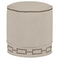 Seating - Gabby Furniture Sandy Footstool I Layla Grayce - linen footstool, linen footstool with nailhead trim, herringbone linen footstool with nailhead trim,