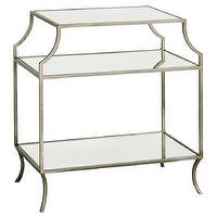 Tables - Milla Side Table I Layla Grayce - silver glass shelved side table, silver framed glass side table, antiqued silver side table,