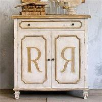 Storage Furniture - Eloquence Royale Cabinet I Layla Grayce - distressed cabinet with gold accents, distressed cabinet with gold r&#039;s on door, distressed cabinet with gold gilt accents,
