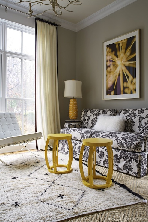Black yellow and gray room contemporary living room janie molster design - Black and yellow living room ...