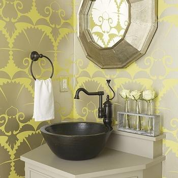 Janie Molster Design - bathrooms - powder room, modern yellow and gray wallpaper, modern yellow and gray floral wallpaper, metallic yellow and gray modern wallpaper, wallpapered powder room, angled gray vanity, angular gray vanity, vessel sink, hammered metal vessel sink, oil-rubbed bronze faucet, oil-rubbed vintage style faucet, oil-rubbed bronze towel loop, galvanized tray with test tube flower holders, champagne silver leaf mirror, modern champagne silver leaf mirror, angular silver leafed mirror, metallic wallpaper, powder room wallpaper, yellow and gray wallpaper, yellow and gray metallic wallpaper, metallic yellow and gray wallpaper, gray vanity, gray bathroom vanity, gray washstand, gray cabinet, gray bathroom cabinet,