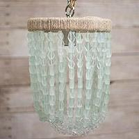 Lighting - Ro Sham Beaux Malibu Sea Green Pendant I Layla Grayce - recycled beaded glass pendant, sea-green beaded pendant, coastal beaded pendant,
