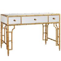 Tables - Bungalow 5 Collette Vanity/Desk Gold I Layla Grayce - retro bamboo desk, retro bamboo vanity, gold and white bamboo desk, gold and white bamboo vanity,