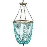 Lighting - Currey & Company Lawrence Chandelier I Layla Grayce - beaded turquoise chandelier, turquoise chandelier, transitional turquoise chandelier,