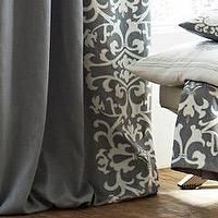 Window Treatments - Lili Alessandra Olivia Ash Gray Curtain Panel Set I Layla Grayce - transistional gray drapes, transitional gray curtains, gray linen drapes with white linen applique, gray linen curtains with white linen applique,