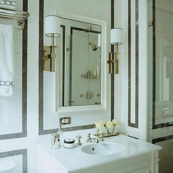 Black Marble Border Tiles, Transitional, bathroom, Sandra Nunnerley