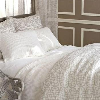 Bedding - Pine Cone Hill Veena Grey Duvet Cover I Layla Grayce - gray and cream duvet cover, indian gray and cream duvet cover, indian style gray and cream bedding,