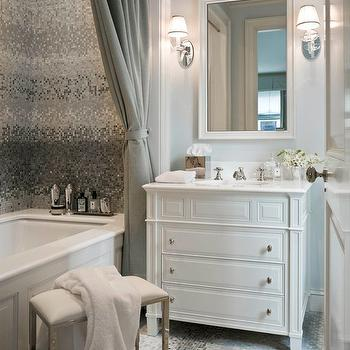 Silver Mosaic Tile, Transitional, bathroom, Sandra Nunnerley