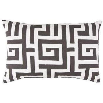 Bedding - Lili Alessandra Onasis Linen Pewter & White Decorative Pillow I Layla Grayce - greek key pillow, dark gray and white greek key pillow, gray greek key pillow,