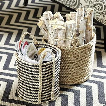 Decor/Accessories - Stitched Jute Rope Basket | Ballard Designs - jute rope basket, striped jute baskets, striped jute rope baskets,