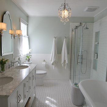 White and Green Bathroom, Traditional, bathroom, Sherwin Williams Sea Salt, Golden Boys and Me