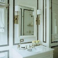 Sandra Nunnerley - bathrooms - black and white bathroom, black marble tile, black marble border, black marble border tile, black and white tile, black and white tile bathroom, black and white bathroom tile, beveled mirror, white beveled mirror, nickel single sconce, black and white sconce shade, black and white shade, single vanity, white single vanity, single washstand, white single washstand, white washed, white quartz top, white vanity with white top, white vanity with white quartz top, towel train rack, train rack, hotel towel rack, towel rack above toilet, train rack over toilet, towel train rack over toilet, train rack above toilet, chic bathroom, chain link towels, chain link bath towels,