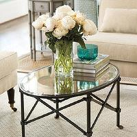 Tables - Olivia Cocktail Table | Ballard Designs - french cocktail table, gueridon coffee table, french style metal cocktail table, metal cocktail table with antiqued mirror top,