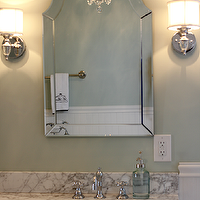 Golden Boys and Me - bathrooms - Sherwin Williams - Sea Salt - lowes mirror, lowes bathroom mirror, hovan arch mirror, allen + roth mirrors, beverly 60 inch bathroom vanity, italian marble countertops, italian carrrera marble, italian carrera marble countertops, green bathroom paint, green bathroom paint colors, spa bathroom paint colors, double vanity, white double vanity, amazon bathroom vanity,