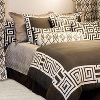 Bedding - Lili Alessandra Onasis Linen Pewter & White Duvet Cover or Set I Layla Grayce - greek key bedding, gray and white greek key bedding, dark gray duvet with white greek key border,