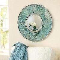 Mirrors - Verdigris Glass Mirror | Ballard Designs - round verdigris mirror, verdigris glass mirror, blue green glass mirror,