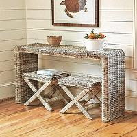 Tables - 3-Piece Sea Isle Collection | Ballard Designs - rattan console table, rattan bench, rattan x-bench,